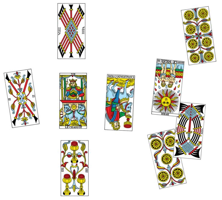 Tarot spread reenactment. Card images credit: CBD Tarot de Marseille by Dr. Yoav Ben-Dov, www.cbdtarot.com