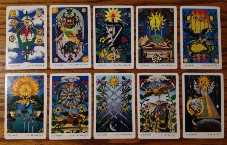 Tarot of the Holy Light, Suit of Swords, Ace to Ten. Click on image to enlarge.