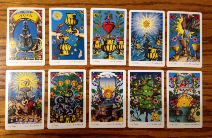 Tarot of the Holy Light, Suit of Cups. Click on image to enlarge.