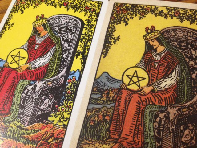 compare - Queen of Pentacles angled closeup