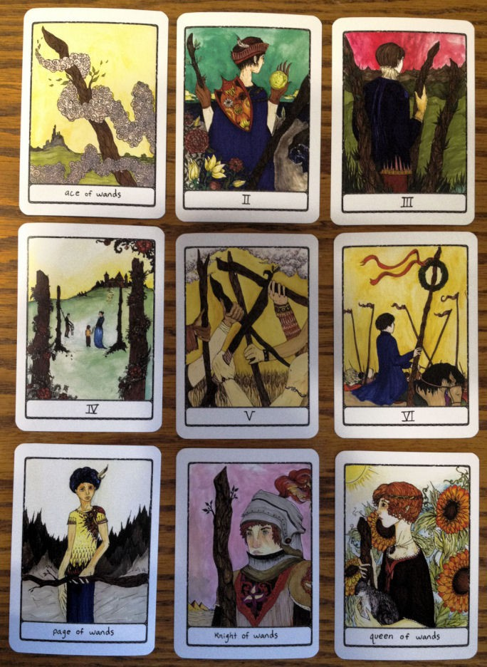 Efflorescent Tarot, select cards from the suit of Wands