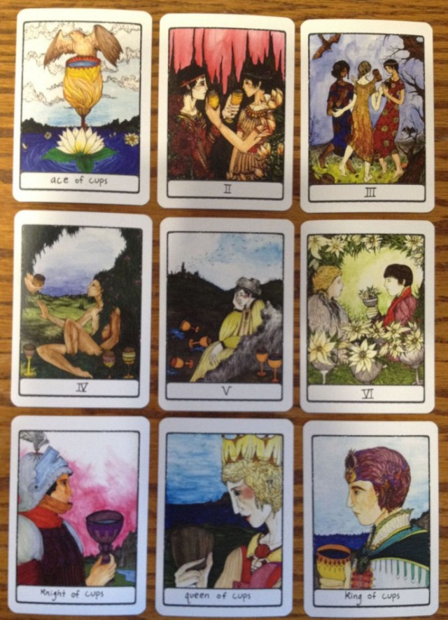 Efflorescent Tarot, select cards from the suit of Cups