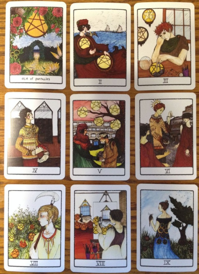 Efflorescent Tarot, select cards from the suit of Pentacles
