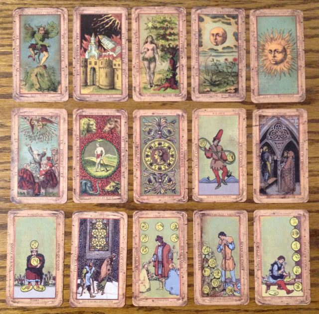 The Deck of the Bastard Tarot by Seven Stars - Majors, The Devil to The World, and Suit of Pentacles, up to Eight