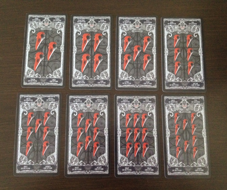 XIII Tarot - 05 Wands (Skulls)