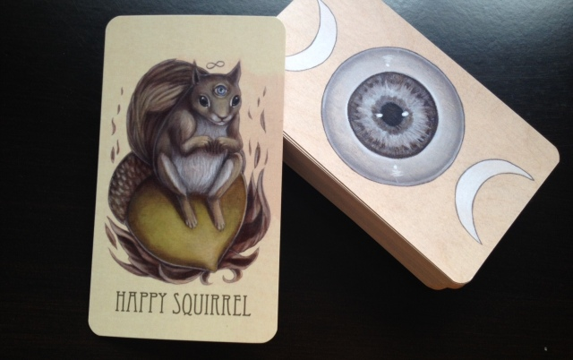 Wooden Tarot - Happy Squirrel Card