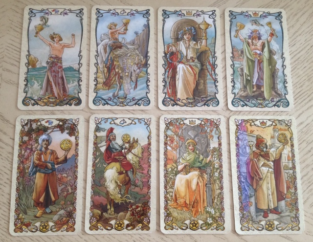 Tarot Mucha 11 Courts (Cups and Pentacles)