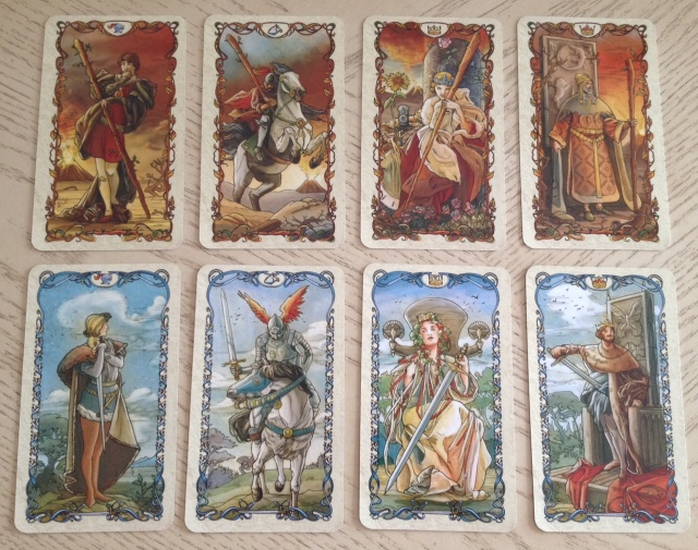 Tarot Mucha 12 Courts (Wands and Swords)