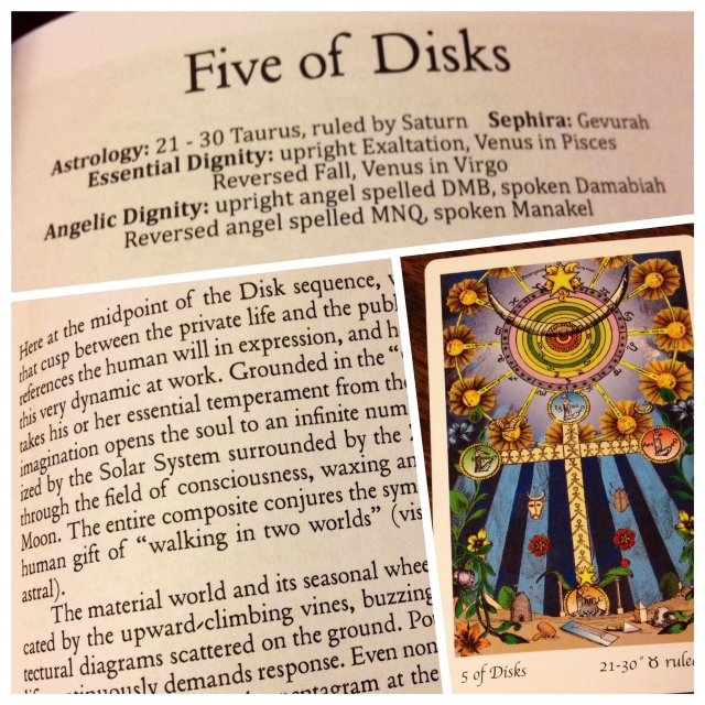 Five of Disks, Book Entry and THL Card. Compare later: Five of Disks, Reversed.