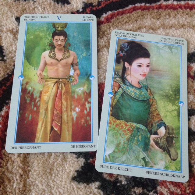 China Tarot - Card Samples Hierophant and Page of Cups