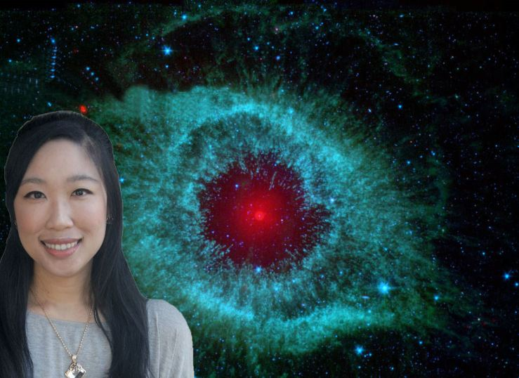 "Really awful photoshop job but I did it myself and so there it is. Background image: ""Dust and the Helix Nebula"" (NASA, JPL-Caltech, Kate Su (Steward Obs, U. Arizona) et al., 2008)"