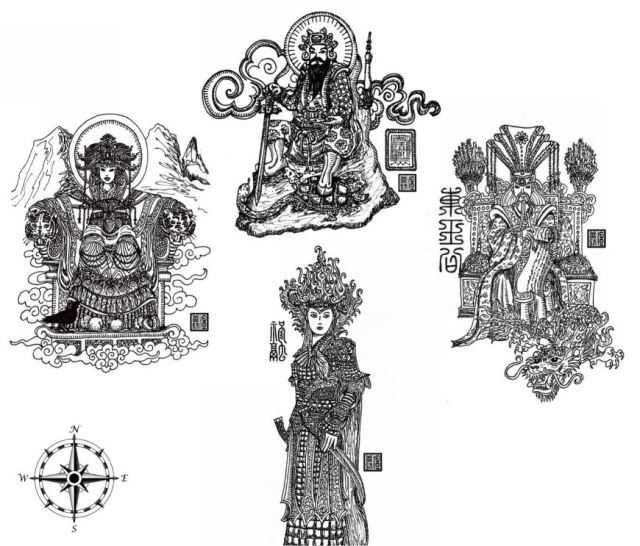 The Four Directional Deities: Grand Duke (East); Zhurong (South); Queen Mother (West); Bei Di (North). Read more about them in Appendix B and refer to the index.