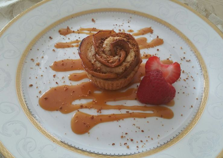 Baked Apple Rose with Salted Caramel Sauce and Fresh Strawberries