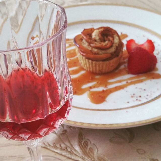 Plum Cordial with Baked Apple Rose